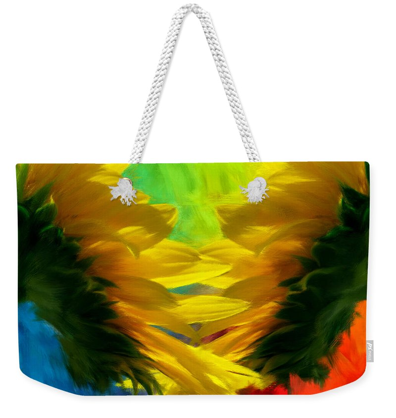 Sunflower Weekender Tote Bag featuring the photograph Mirrorring Suns by Lourry Legarde