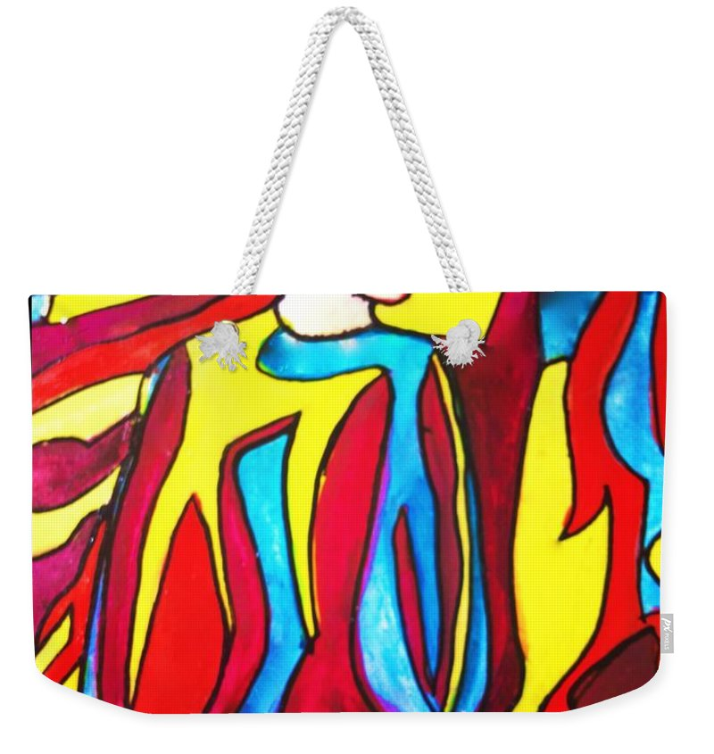 Fashion Weekender Tote Bag featuring the painting Miss 1966 Detail 2 by Joan-Violet Stretch