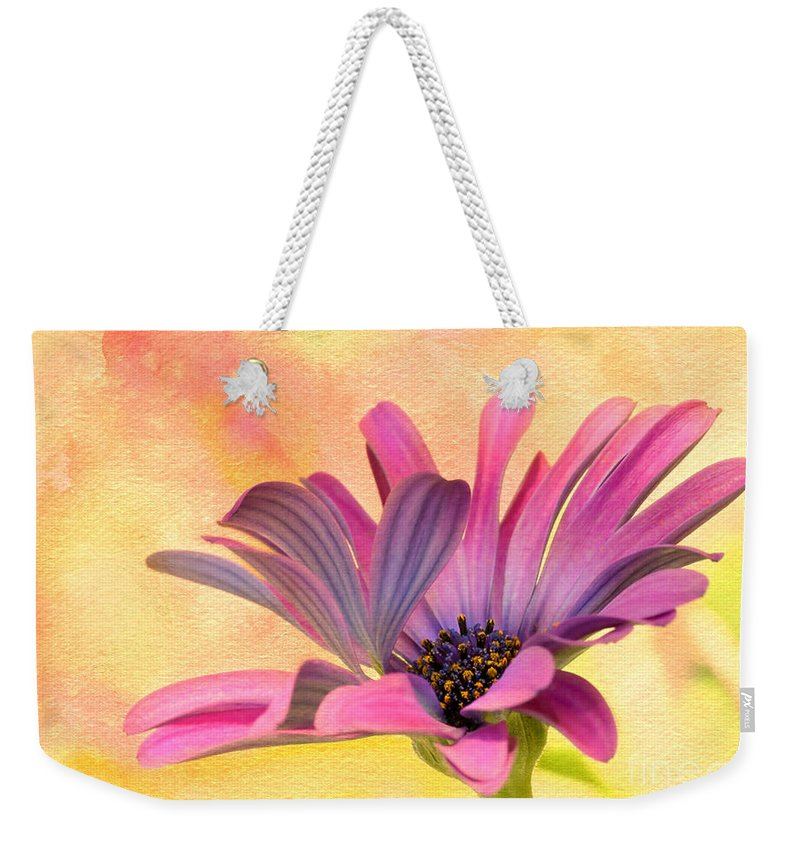 Macro Weekender Tote Bag featuring the photograph Miss Daisy by Sabrina L Ryan