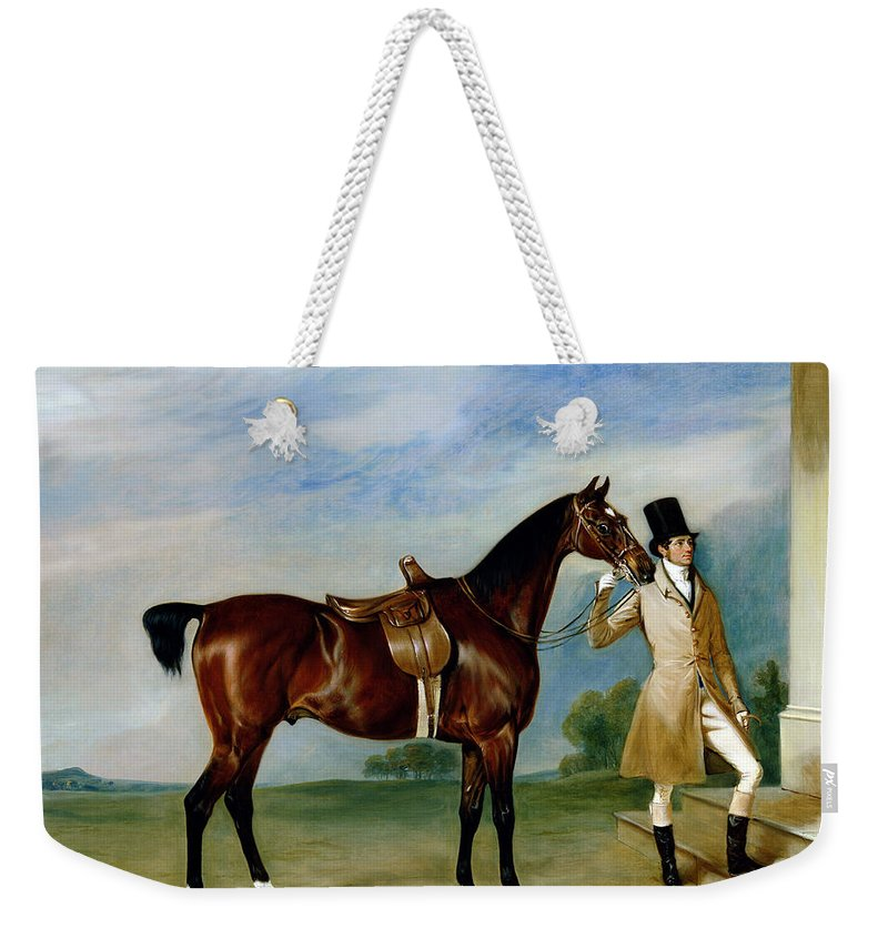 Horse; Docked Tail; Hunting Weekender Tote Bag featuring the painting Miss Villebois Bay Hunter Held By A Groom by John E Ferneley