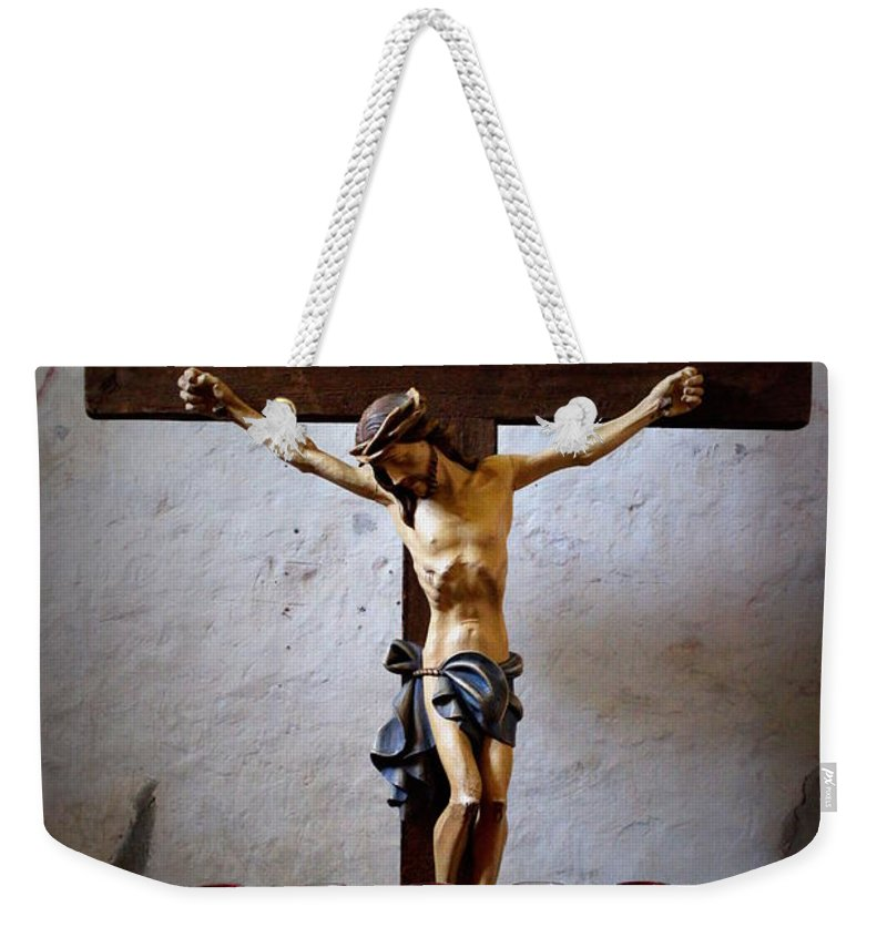 Mission Concepcion Weekender Tote Bag featuring the photograph Mission Concepcion - Crucifixion by Beth Vincent