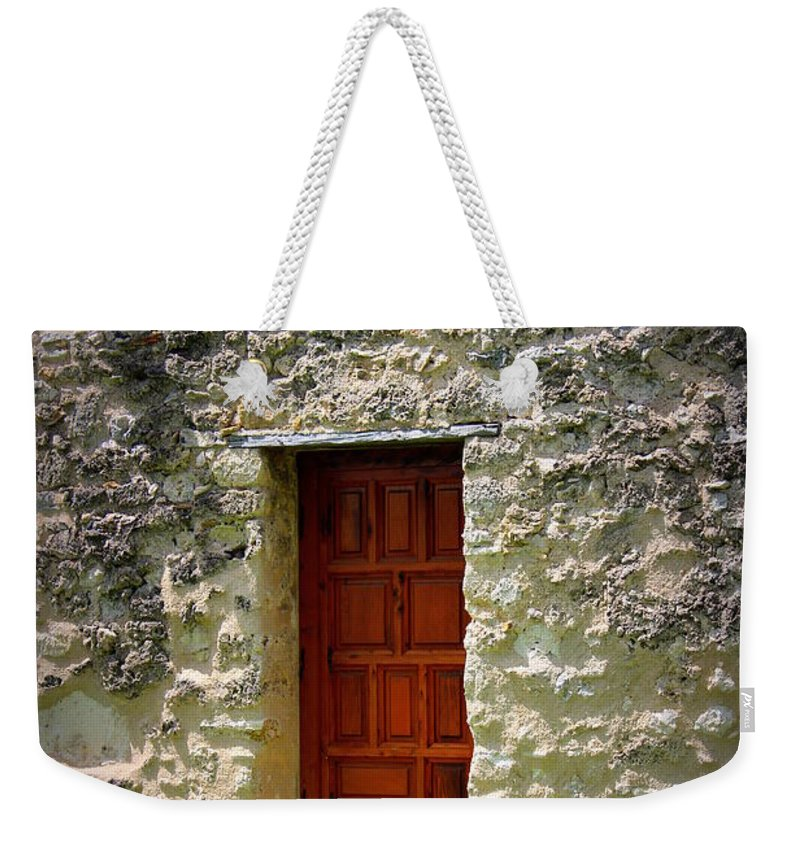 Mission Concepcion Weekender Tote Bag featuring the photograph Mission Concepcion - Door by Beth Vincent