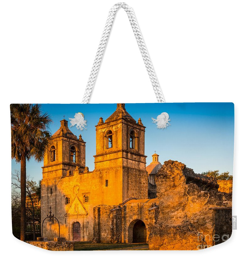 America Weekender Tote Bag featuring the photograph Mission Concepcion by Inge Johnsson