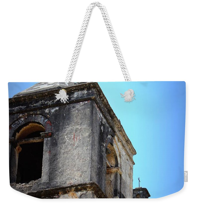 Mission Concepcion Weekender Tote Bag featuring the photograph Mission Concepcion - Tower by Beth Vincent