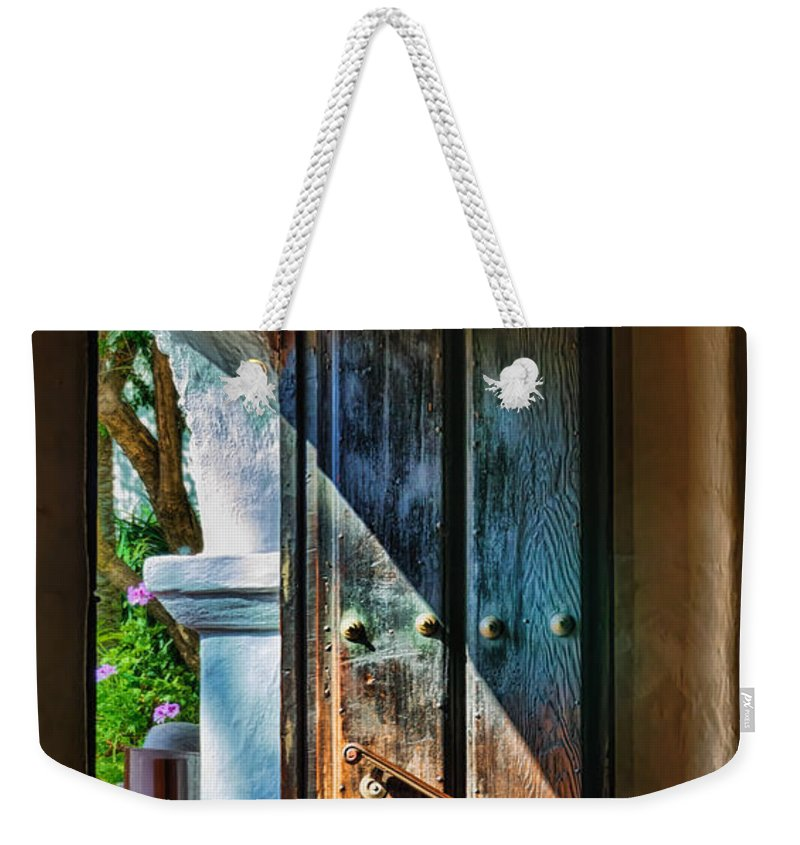 California Mission Weekender Tote Bag featuring the photograph Mission Door by Joan Carroll