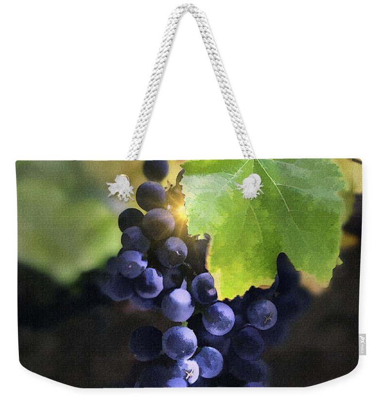 Grapes Weekender Tote Bag featuring the digital art Mission Grapes II by Sharon Foster