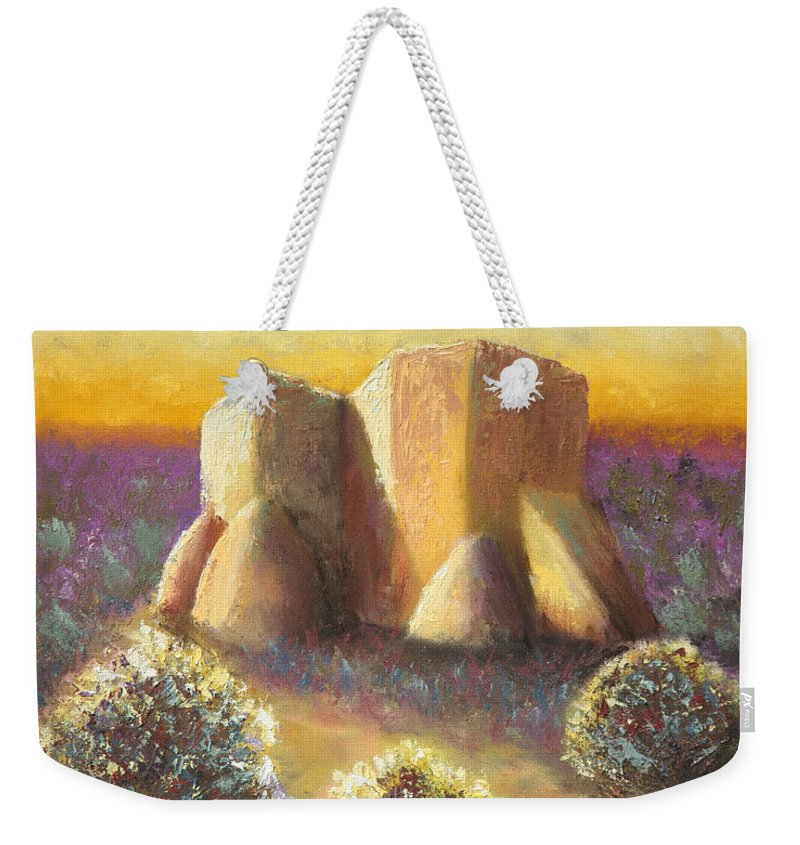 Landscape Weekender Tote Bag featuring the painting Mission Imagined by Jerry McElroy