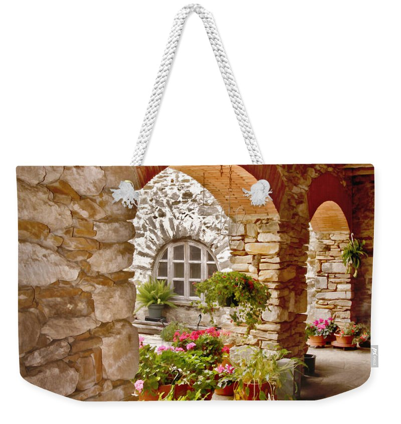 Arches Weekender Tote Bag featuring the photograph Mission San Francisco De La Espada by David and Carol Kelly