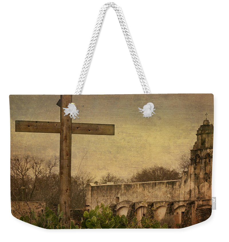 Arches Weekender Tote Bag featuring the photograph Mission San Juan by David and Carol Kelly