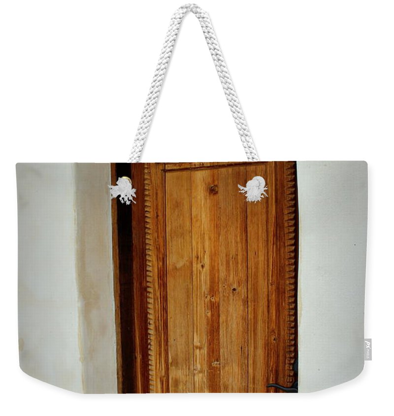 Mission San Juan Weekender Tote Bag featuring the photograph Mission San Juan - Door by Beth Vincent