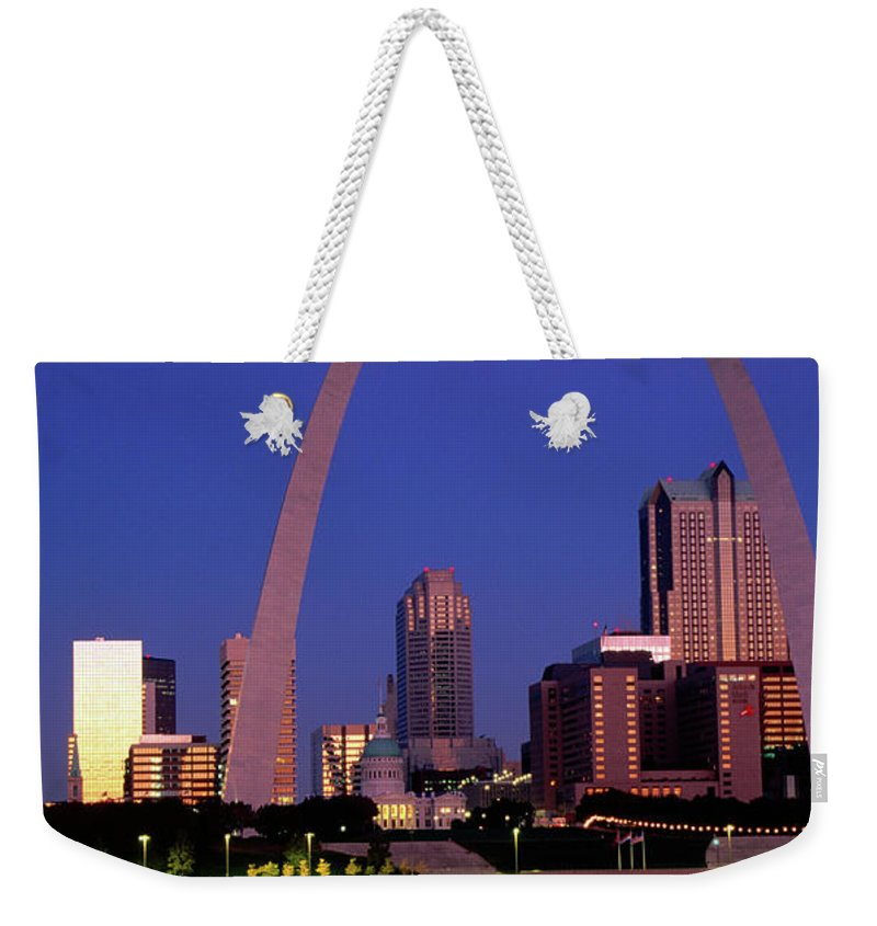Arch Weekender Tote Bag featuring the photograph Mississippi River And Gateway Arch At by John Elk
