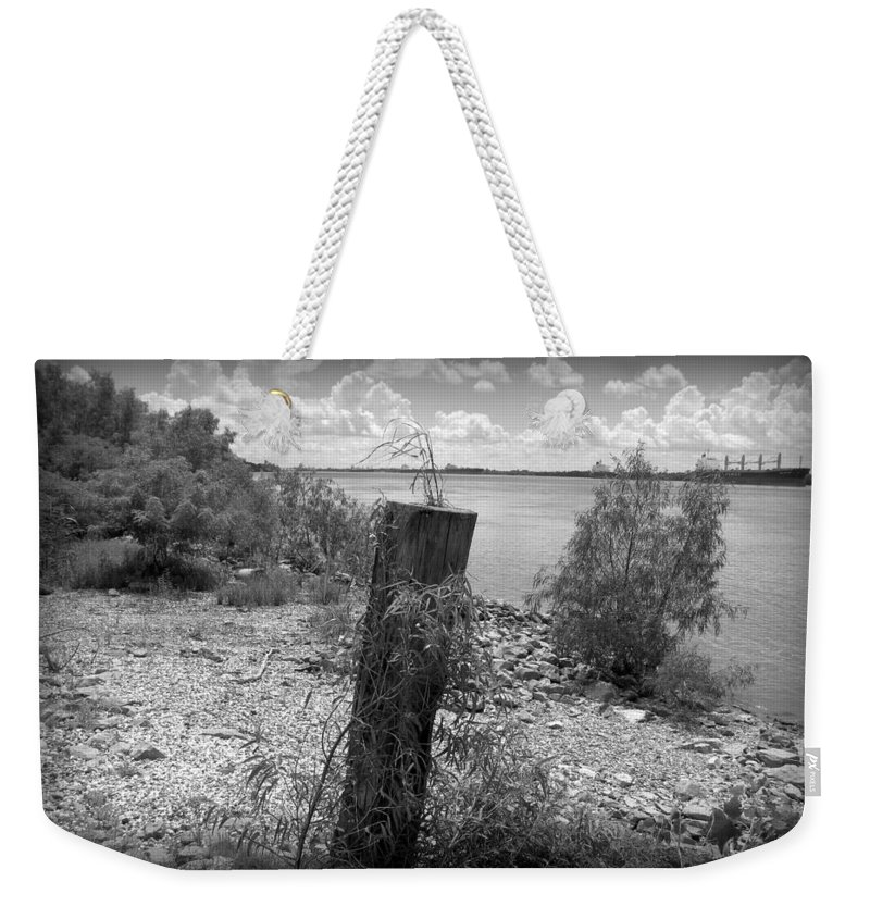 Mississippi River Weekender Tote Bag featuring the photograph Mississippi River - Bw by Beth Vincent