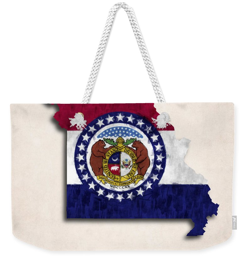 America Weekender Tote Bag featuring the digital art Missouri Map Art With Flag Design by World Art Prints And Designs