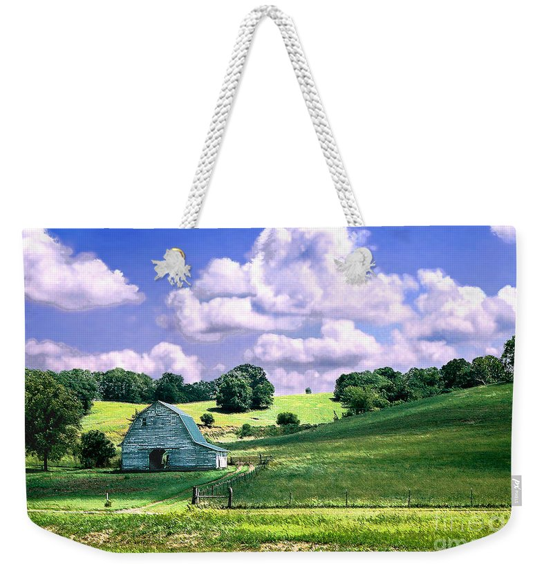 Landscape Weekender Tote Bag featuring the photograph Missouri River Valley by Steve Karol