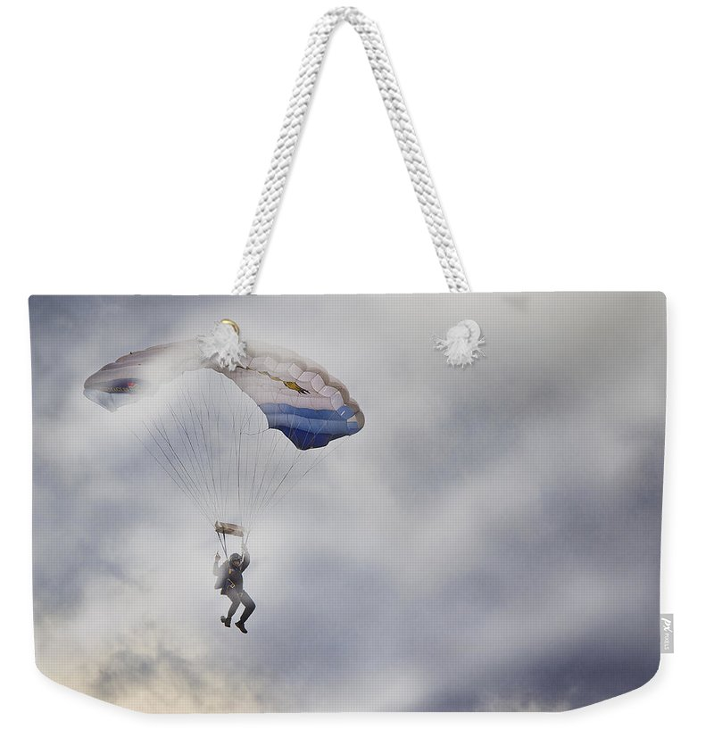 Soldier Weekender Tote Bag featuring the photograph Mist Landing by Ronel Broderick
