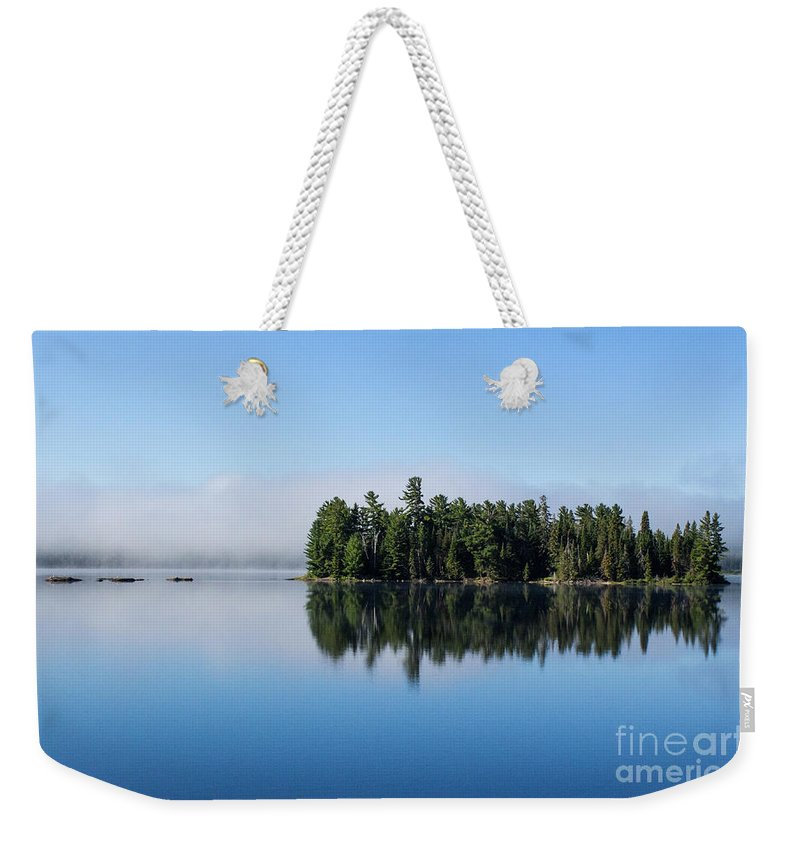 Waterscape Weekender Tote Bag featuring the photograph Mist On Lake Of Two Rivers by Barbara McMahon