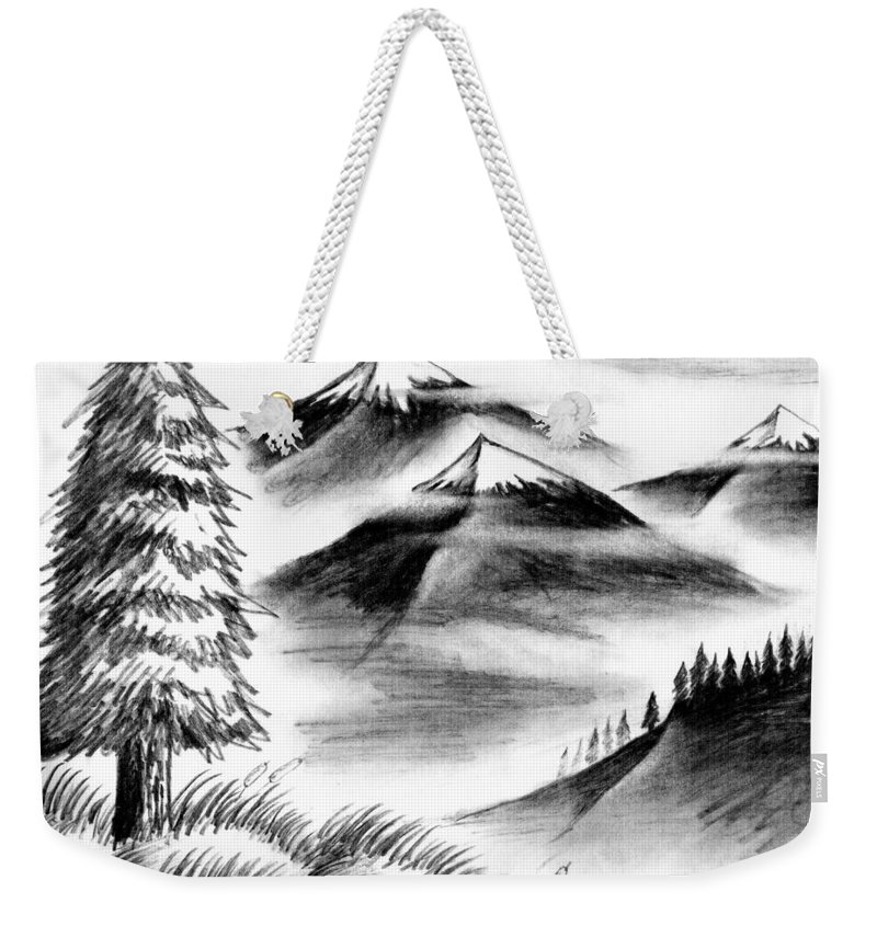 Wallpaper Buy Art Print Phone Case T-shirt Beautiful Duvet Case Pillow Tote Bags Shower Curtain Greeting Cards Mobile Phone Apple Android Nature Charcoal Paper Sketch Drawing Hills Mountains Himalayas India Snow Salman Ravish Khan Weekender Tote Bag featuring the drawing Mist by Salman Ravish
