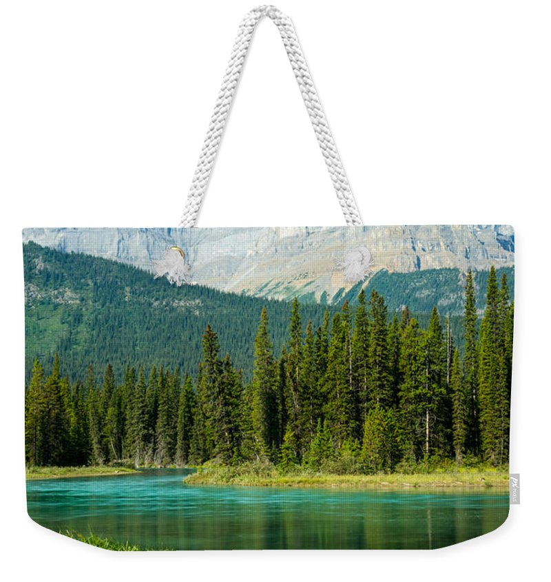 Alberta Weekender Tote Bag featuring the photograph Mistaya River And Mountains by Douglas Barnett