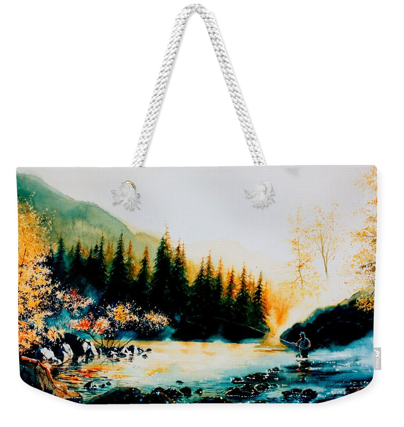 Landscape Painting Weekender Tote Bag featuring the painting Misty Fishing Morning by Hanne Lore Koehler