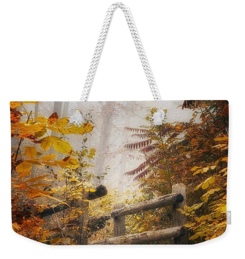 Bridge Weekender Tote Bag featuring the photograph Misty Footbridge by Scott Norris