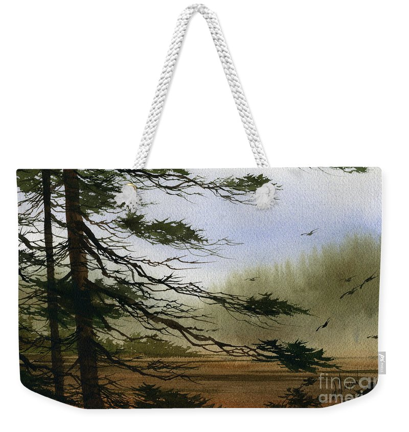 Misty Watercolors Weekender Tote Bag featuring the painting Misty Forest Bay by James Williamson