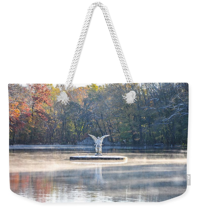 Misty Weekender Tote Bag featuring the photograph Misty Lake Angel by Bill Cannon