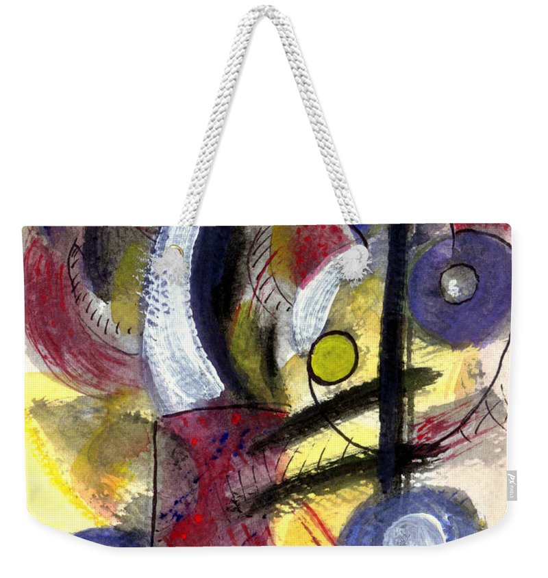 Abstract Art Weekender Tote Bag featuring the painting Misty Moon by Stephen Lucas