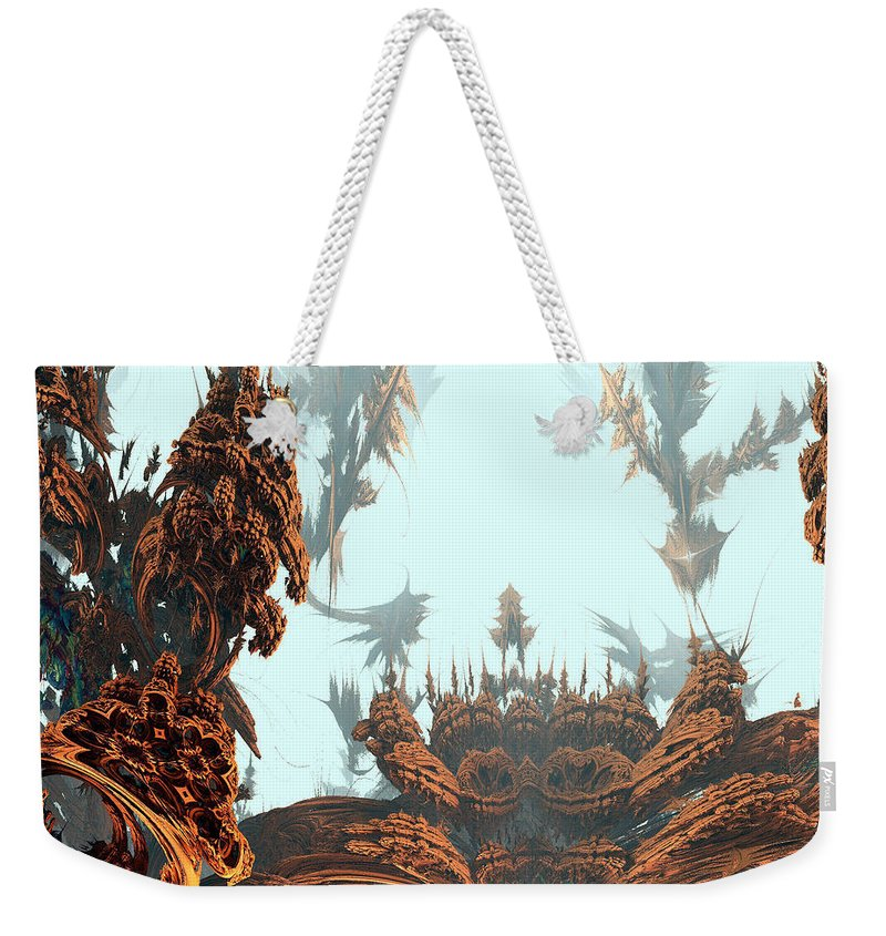 Fractal Weekender Tote Bag featuring the digital art Misty Morn On Planet X by Richard Ortolano