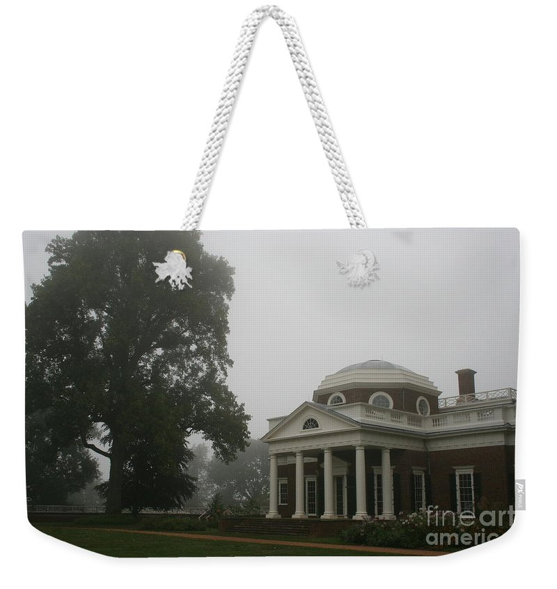 Mist Weekender Tote Bag featuring the photograph Misty Morning At Monticello by Christiane Schulze Art And Photography