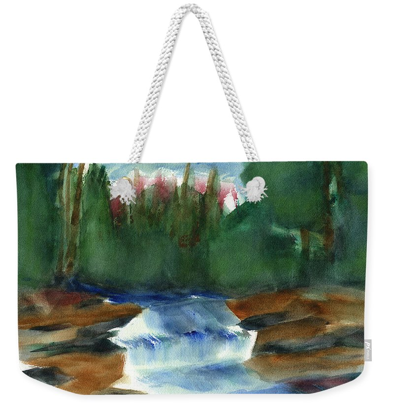 Hudson Valley Art Weekender Tote Bag featuring the painting Misty Morning Brook In Hudson Valley by Frank Bright