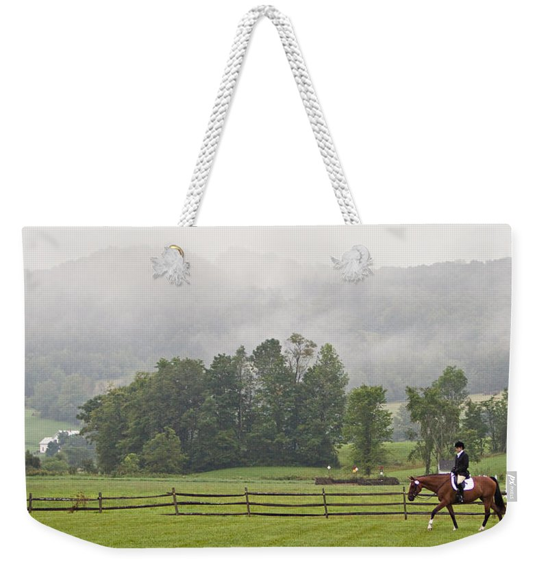 Dressage Weekender Tote Bag featuring the photograph Misty Morning Ride by Joan Davis