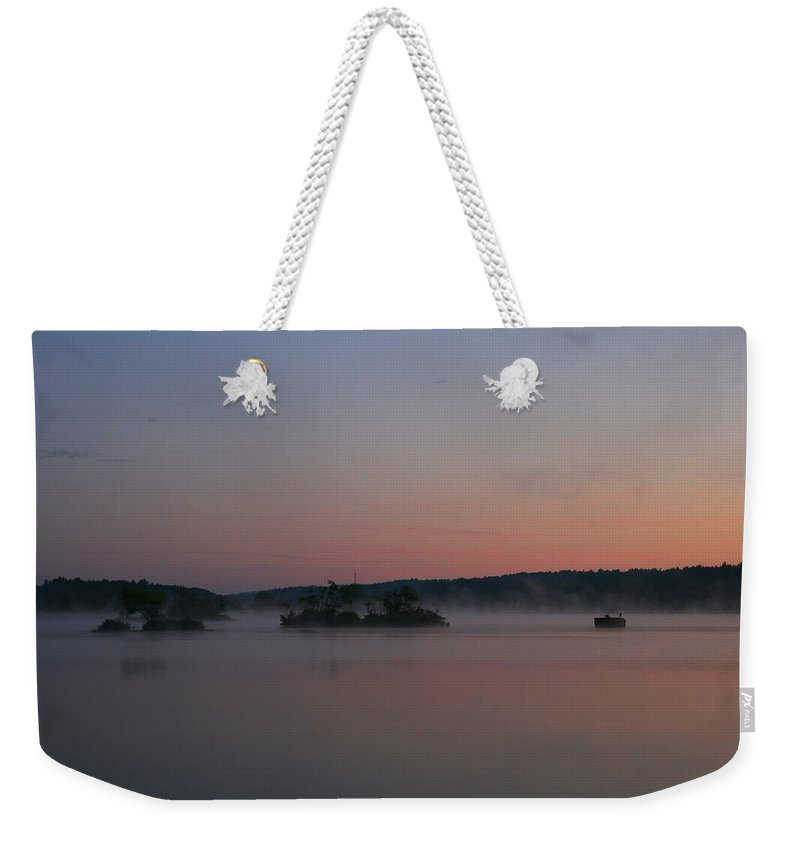 Misty Morning Sunrise Weekender Tote Bag featuring the photograph Misty Morning Silence by Neal Eslinger