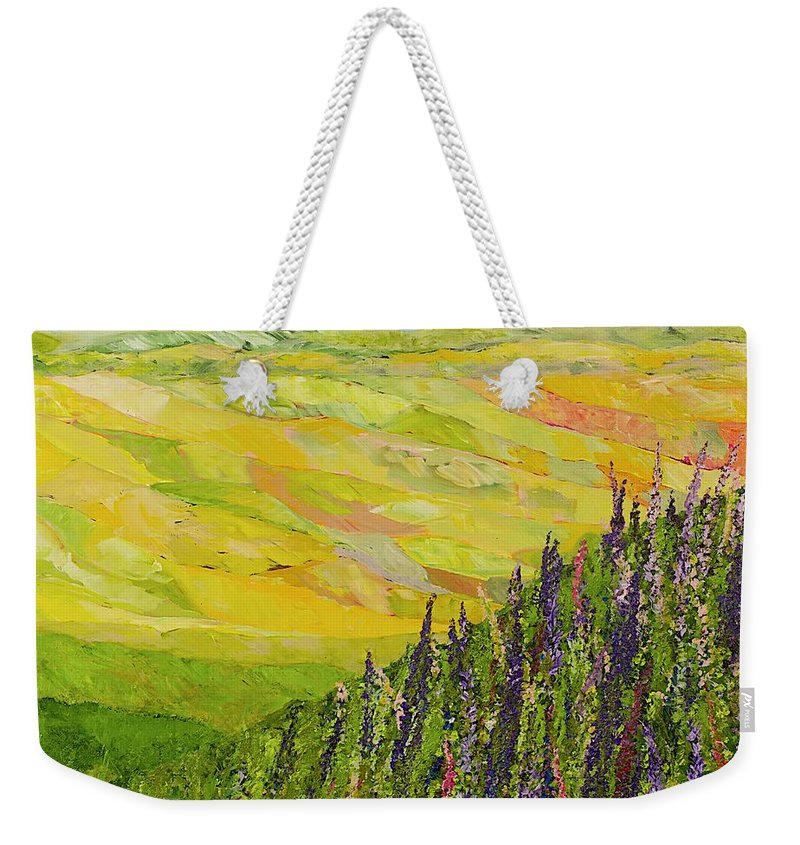 Landscape Weekender Tote Bag featuring the painting Misty Valley by Allan P Friedlander
