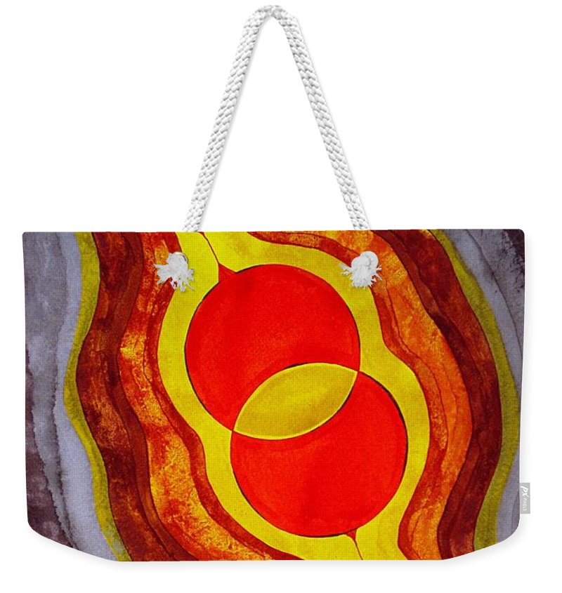 Painting Weekender Tote Bag featuring the painting Mitosis Of Worlds Original Painting by Sol Luckman