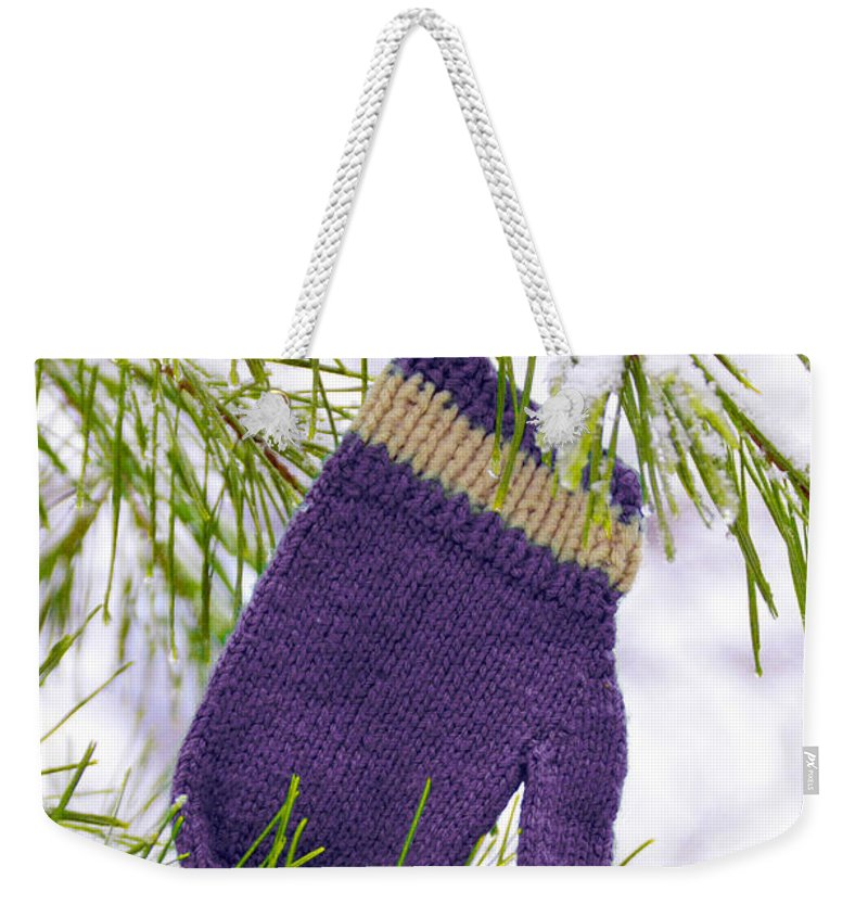 Mitten Weekender Tote Bag featuring the photograph Mitten In Snowy Pine Tree by Jill Battaglia