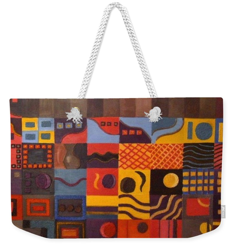 Emotions Weekender Tote Bag featuring the painting Mixed Emotions by Leslye Miller