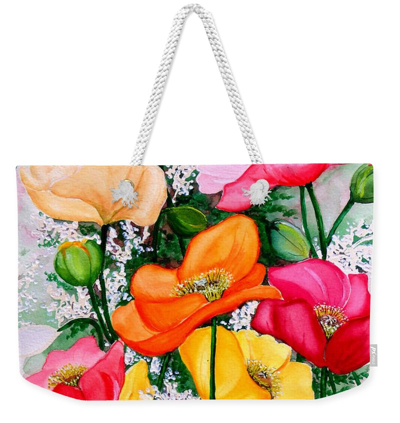 Poppies Weekender Tote Bag featuring the painting Mixed Poppies by Karin Dawn Kelshall- Best