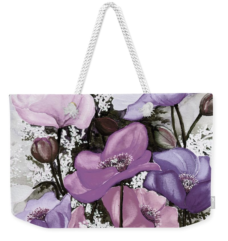 Purple Weekender Tote Bag featuring the painting Mixed Poppies Purple by Karin Dawn Kelshall- Best