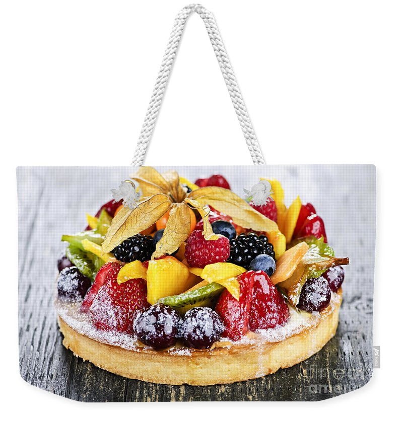 Tart Weekender Tote Bag featuring the photograph Mixed Tropical Fruit Tart by Elena Elisseeva