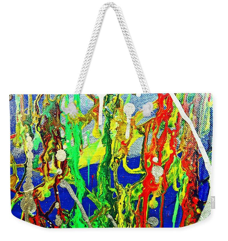 Amber Weekender Tote Bag featuring the painting Mixed Up by Kusum Vij