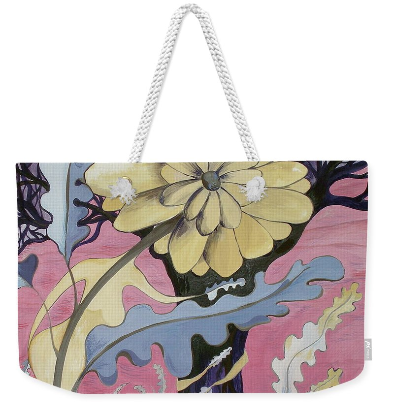 Flower.surreal Weekender Tote Bag featuring the painting Miz Fleur by Sue Wright