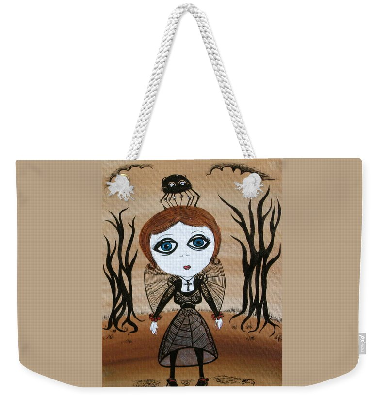 Gothic Weekender Tote Bag featuring the painting Miz Goth by Sue Wright