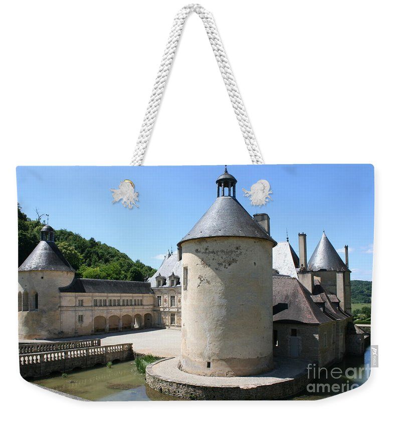 Moat Weekender Tote Bag featuring the photograph Moated Castle - Bussy Rabutin - Burgundy by Christiane Schulze Art And Photography