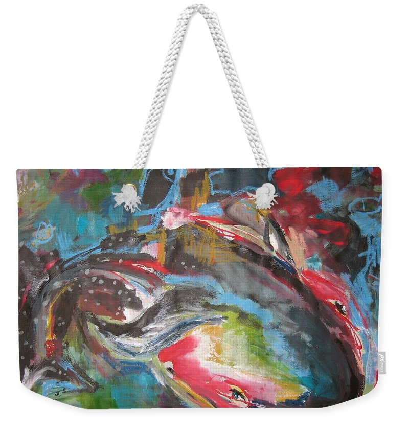 Whale Paintings Weekender Tote Bag featuring the painting Mobie Joe The Whale-original Abstract Whale Painting Acrylic Blue Red Green by Seon-Jeong Kim