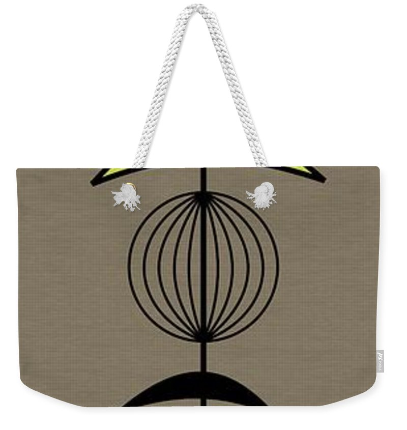 Mid Century Weekender Tote Bag featuring the digital art Mobile 3 In Green by Donna Mibus