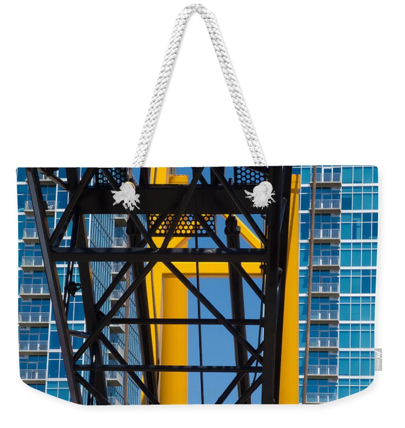 Mobile Crane Section Weekender Tote Bag featuring the photograph Mobile Crane Section by Robert VanDerWal