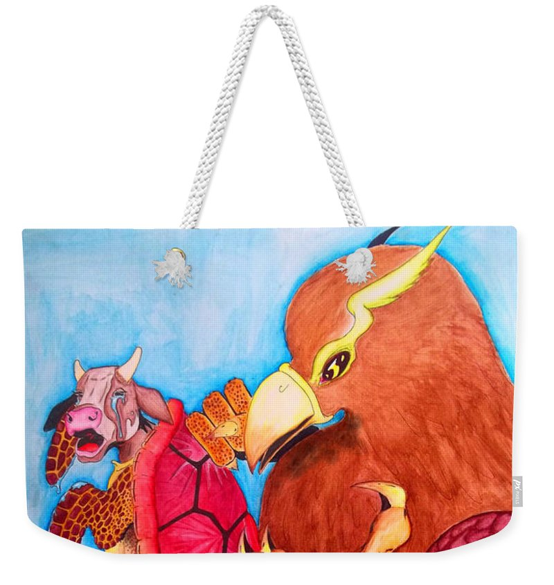 Justin W Moore Weekender Tote Bag featuring the painting Mock Turtle And Griffon by Justin Moore