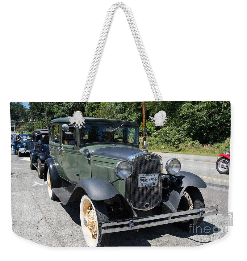 Bowen Island Weekender Tote Bag featuring the digital art Model A by Carol Ailles