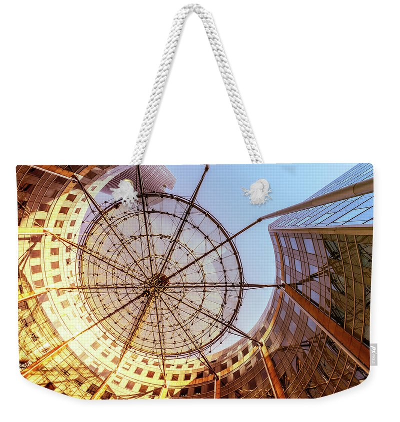 Corporate Business Weekender Tote Bag featuring the photograph Modern Architecture With Sun Shade by Warchi