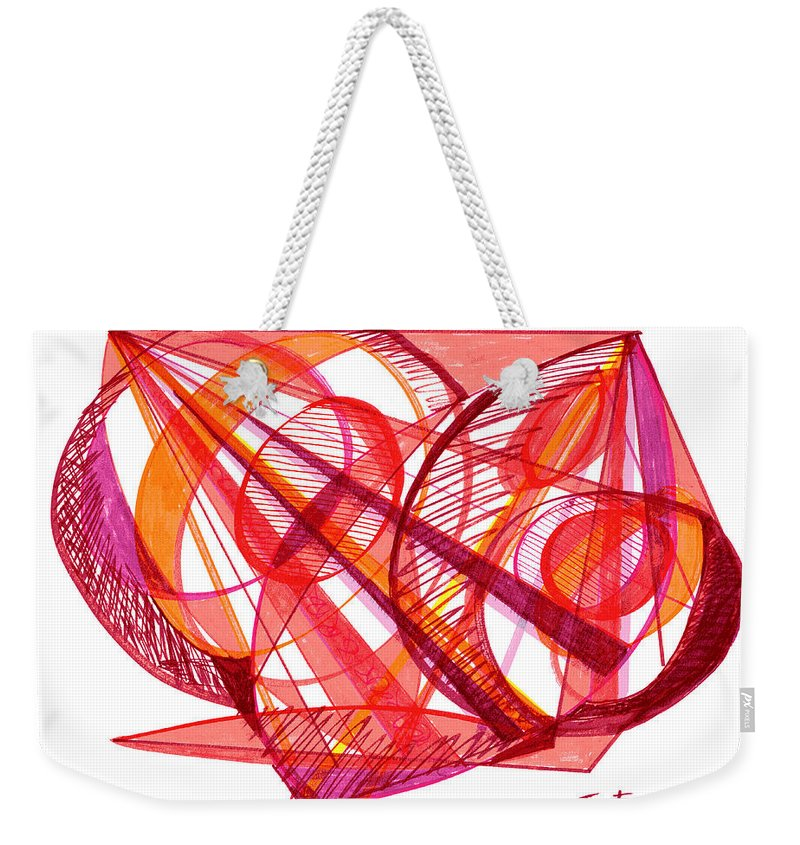 Modern Drawing Weekender Tote Bag featuring the drawing Modern Drawing Seventy-one by Lynne Taetzsch